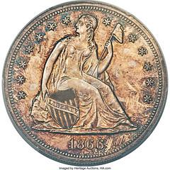 1866 No Motto Dollar Obv