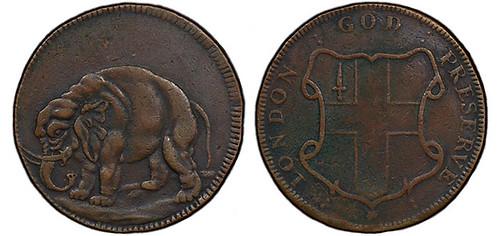 struck counterfeit Elephant token