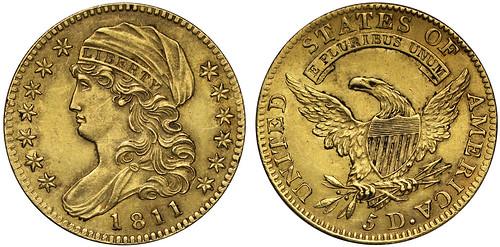 SOVR sale 3 lot 290 1811 gold five dollars