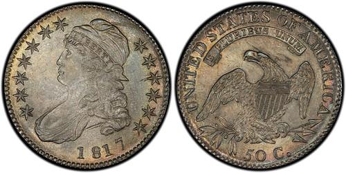 Capped Bust Half Dollar, 1817 50C Overton 106