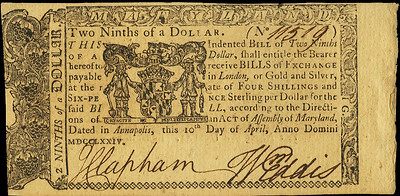 Maryland 1774-04-10 Two-Ninths Dollar front