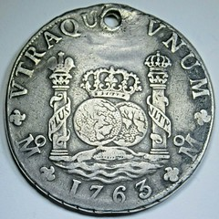 Holed 1763 Mexico Silver 8 Reales reverse