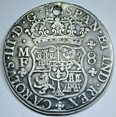 Holed 1763 Mexico Silver 8 Reales obverse