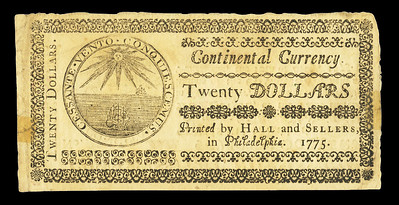 Continental Currency note of May 10, 1775 back