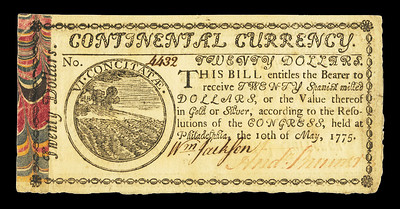 Continental Currency note of May 10, 1775 front