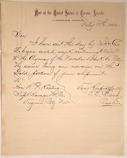 Carson City Mint Letter