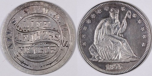 J. F. Myers Engraved Seated Liberty Half Dollar