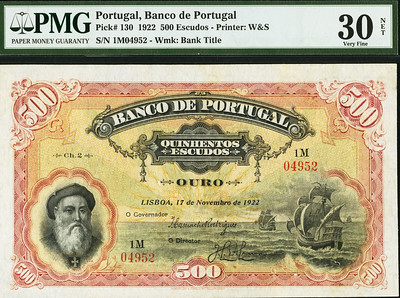 1922 Bank of Portugal 500 Escudos Note