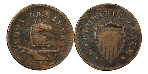 New Jersey Copper struck on 1772 British Halfpenny
