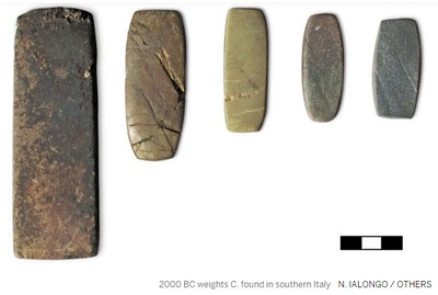 2000 BC weights C. found in southern Italy