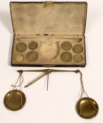 Coin Scale with Facsimile Coins for Weights