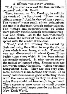 A Roman Tribute Penny The News, Tues, Mar 13, 1888, p. 4
