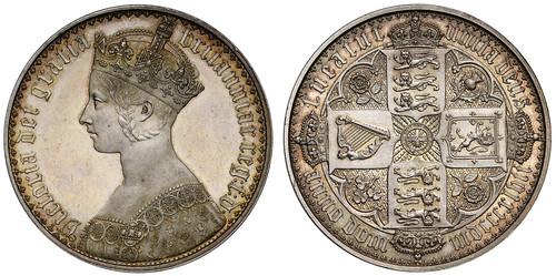 1847 Victoria Proof Gothic Crown, Plain Edge