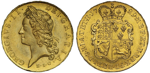 1729 George II Five Guineas, East India Company Issue