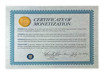 Farouk 1933 Double Eagle Certificate of Monetization