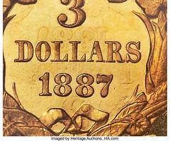 1887 Proof Three Dollar gold closeup