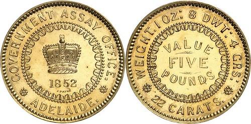 1852 Australia 5 pound gold assay