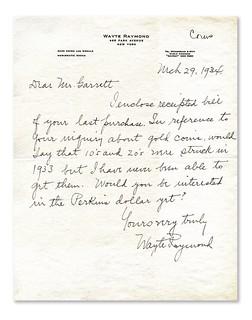 1933 $20 Raymond letter