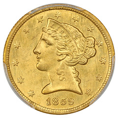 1859-C Half Eagle obverse