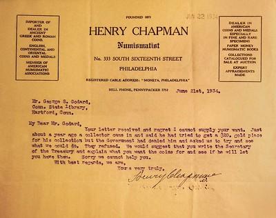 1933 $20 Chapman letter