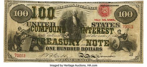 1864 Three-Year 6% Compound Interest Treasury Note $100