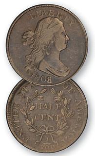 1808 over 7 Half Cent
