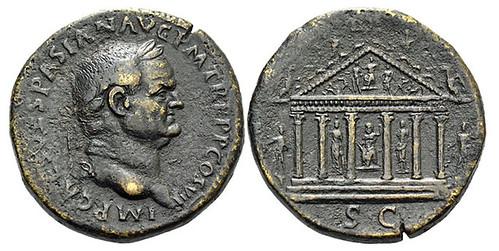 Vespasian Sestertius  temple of Jupiter