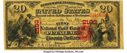 First National Gold Bank of Petaluma $20