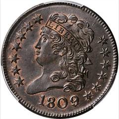 1809 over inverted 9 Half Cent obverse