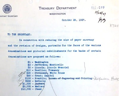 1927 memo on US currency portraits
