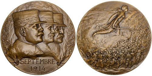 Generals Joffre, Maunoury & Gallieni bronze Medal