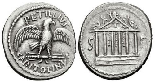 Petillius Capitolinus Denarius Temple of Jupiter