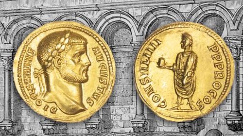 gold aureus of Diocletian