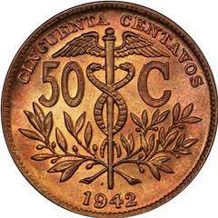 I942 Bolivia 50 Centavos reverse
