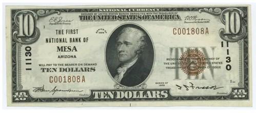 First National Bank Mwesa Arizona $10
