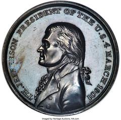 1801 Thomas Jefferson Inaugural Medal, Silver, MS62 NGC. Eidlitz-1, Julian-PR-2, DeWitt-TJ-1800-1_Heritage_Auctions_1