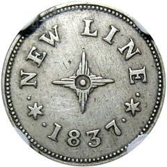 1837 Roxbury Coaches New Line Token reverse