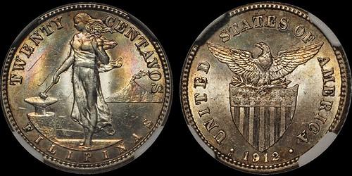 1912 Philippines 20 Centavos