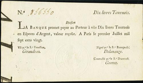 1720 Louisiana 10 Livres Tournois