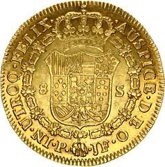 1812 Colombia Ferdinand VII Gold 8 Escudos reverse