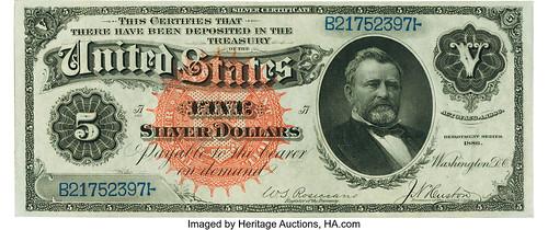 $5 1886 Silver Certificate face