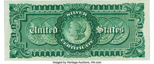 $5 1886 Silver Certificate back
