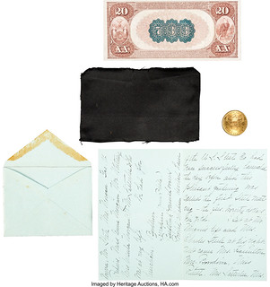 Morgan Presentation Grouping with National Bank of Commerce $20 Note and 1898-S $20 Double Eagle reverse