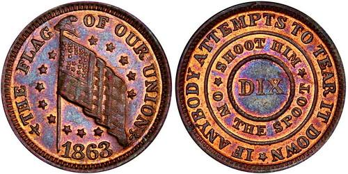 1863 Fuld 209-414 Patriotic Civil War Token Spoot Error PCGS MS64RB