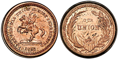 1863 Fuld 178-267do Civil War Token Struck Over 1860 1Cent PCGS MS63
