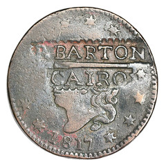1817 U.S. Large Cent BARTON counterstamp obverse