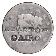 Large Cent BARTON counterstamp obverse