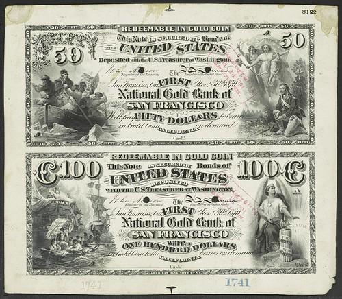 National Bank Note Proofs__Main Set 1 sample--Gold Bank Notes_California-1
