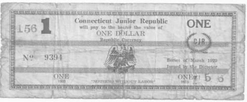 George Junior Republic One Dollar scrip note