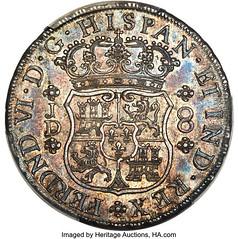 1754 Peru Ferdinand VI 8 Reales reverse